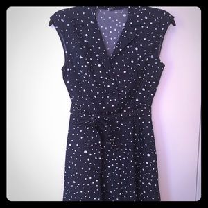 Ann Taylor Navy Blue Polka Dot Dress